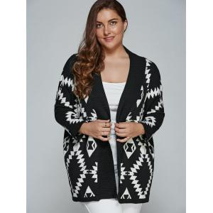 Plus Size Geometric Loose Sweater Kimono Cardigan -