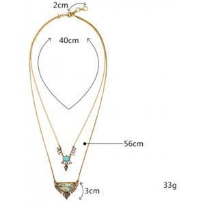 Faux Gem Rhinestone Moon Water Drop Layered Necklace - GOLDEN