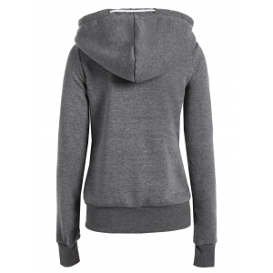 Casual Style Solid Color Long Sleeves Hoodie For Women - DEEP GRAY M