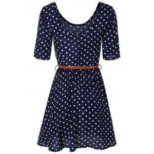 Polka Dot Belted Short A-Line Dress -