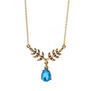 Water Drop Leaf Rhinestone Pendant Necklace -