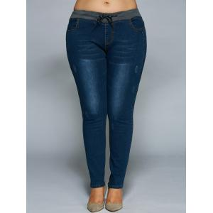 Plus Size Drawstring Bodycon Jeans - DENIM BLUE 4XL