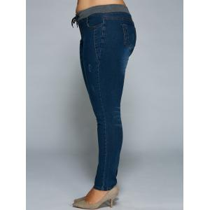 Plus Size Drawstring Bodycon Jeans -