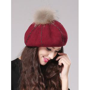 Streetwear Fuzzy Ball Sewing Thread Felt Beret -