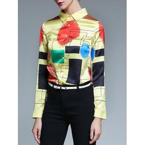 Fitted Color Block Geometric Screen Print Shirt - LIGHT YELLOW 2XL