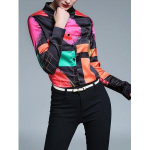Fitted Color Block Geometric Screen Print Shirt -