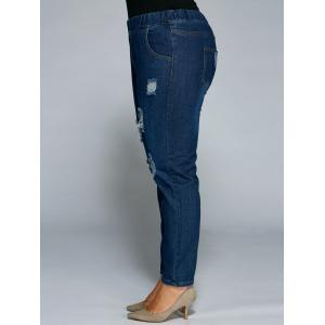 Plus Size Broken Hole Bodycon Jeans -