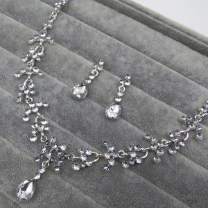 Mariage floral Tear Shape Collier Set - Blanc
