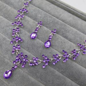Wedding Floral Tear Shape Necklace Set - PURPLE