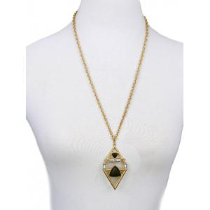 Rhombus Triangle Faux Gem Necklace -