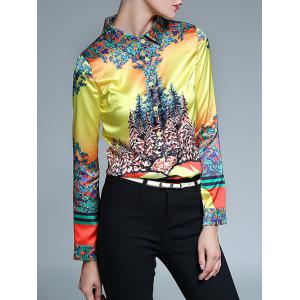 Floral Print Fitted Shirt - YELLOW 2XL