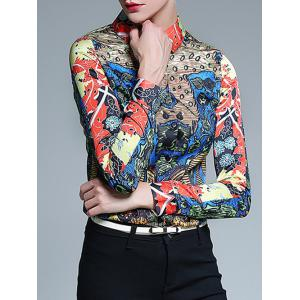 Long Sleeve Fitted Tribal Print Shirt -