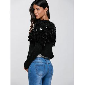Hollow Out Sequined Short Hand-Knitted Mohair Cardigan -
