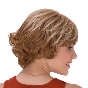 Short Full Bang Curly Brown Highlights Synthetic Wig -
