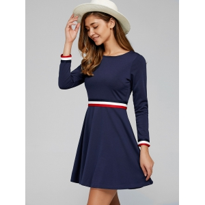 Hidden Zip Striped Dress - DEEP BLUE 2XL