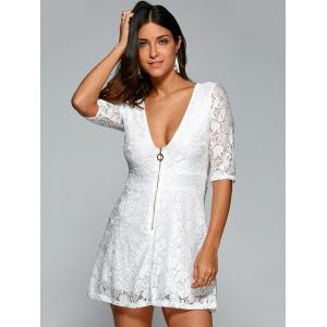 Plunging Neck Zipper Lace Openwork Dress - WHITE XL