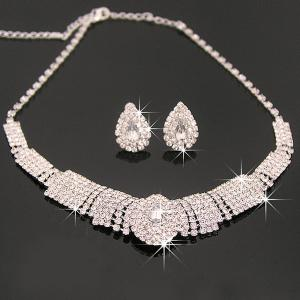 Tiered Rhinestone Teardrop Shape Necklace Set -