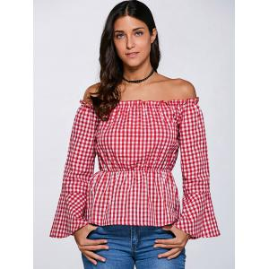 Flare Sleeve Off The Shoulder Checked Blouse -