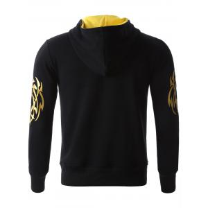 Golden Printed Long Sleeve Hoodie - BLACK M