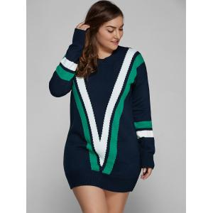 Plus Size V Shape Patchy Fitted Winter Jumper Dress -