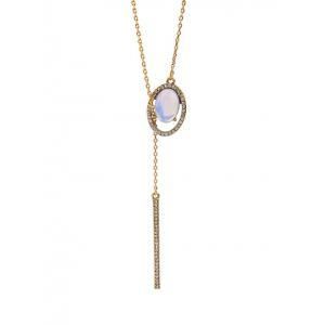 Water Drop Rhinestone Faux Gem Bar Pendant Necklace -