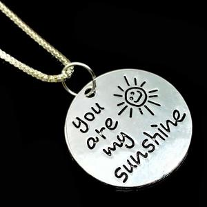 Engraved You Are My Sunshine Alloy Necklace - SILVER