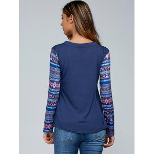 Geometric Printed Pocket Spliced Tee - DEEP BLUE XL