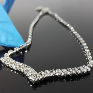 V Shape Rhinestone Wedding Necklace Set -