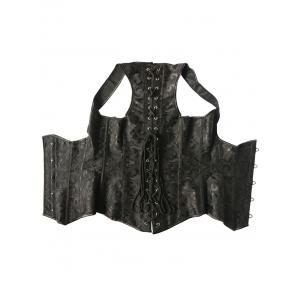 Punk Steel Boned Corset Vest - BLACK M
