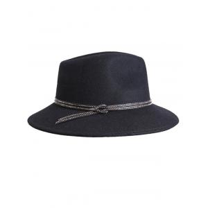 Streetwear Knotted Double Rivet Bands Felt Jazz Hat -