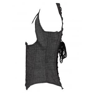 Denim Cupless Corset Vest - GRAY 6XL