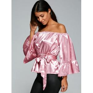 Off The Shoulder Satin Belted Blouse -