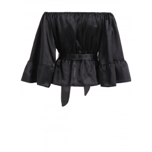 Off The Shoulder Satin Belted Blouse - BLACK M