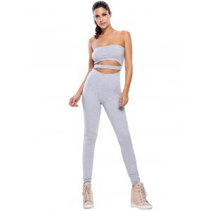 Sporty Strapless Hollow Out Gym Jumpsuit -