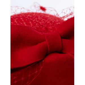 Winter Bowknot Veil Felt Pillbox Hat -