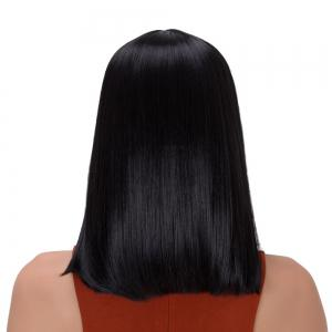 Gorgeous Medium Neat Bang Straight Synthetic Wig - BLACK