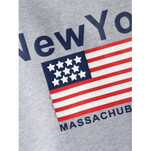 Pocket Fleece New York Letter Flag  Hoodie -