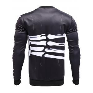 3D Surround Bones of Hand Print Crew Neck Sweatshirt - BLACK XL