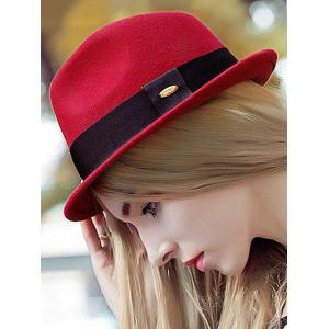 Streetwear Wide Band Felt Jazz Hat - RED