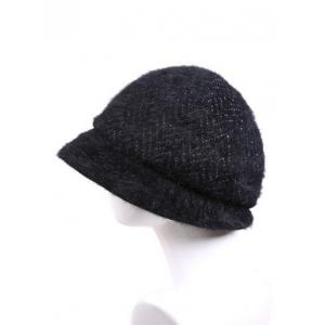 Winter Faux Fur Wave Stripe Newsboy Cap -