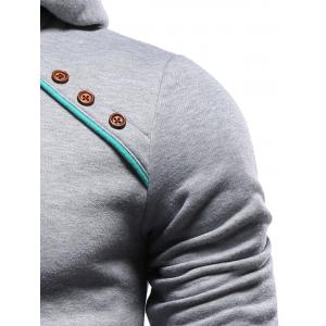 Color Block Splicing Oblique Buttons Embellished Hoodie - GRAY XL