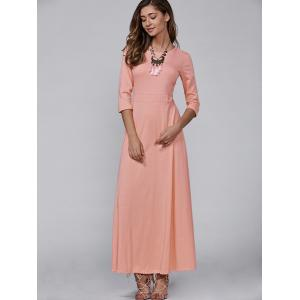 3/4 Sleeve Vintage Maxi Flowing Dress -