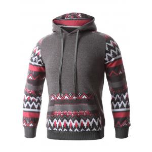 Geometric Print Spliced Raglan Sleeve Hoodie - DEEP GRAY XL
