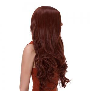 Long Side Parting Wavy Impressive Synthetic Wig - DARK AUBURN