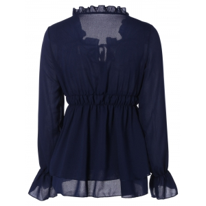 Chiffon Front-Tie Shirred Blouse -