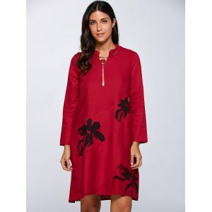 Floral Print Linen Pocket Design Dress - RED XL