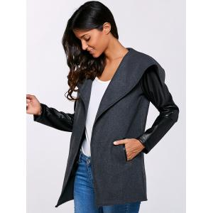 Autumn PU Sleeve Pocket Jacket - BLACK 2XL