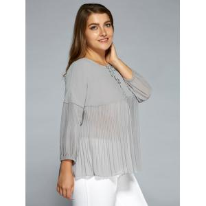 Drop Shoulder Criss Cross Chiffon Pleated Blouse -