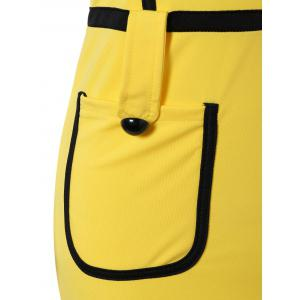 Cape Sleeve Pocket Spliced Pencil Dress - YELLOW S