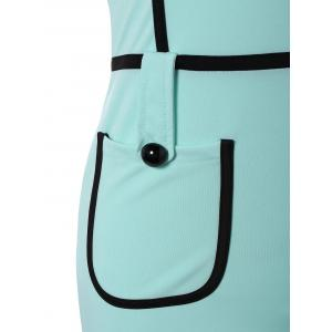 Cape Sleeve Pocket Spliced Pencil Dress - TURQUOISE L